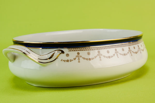 Blue and white serving bowl