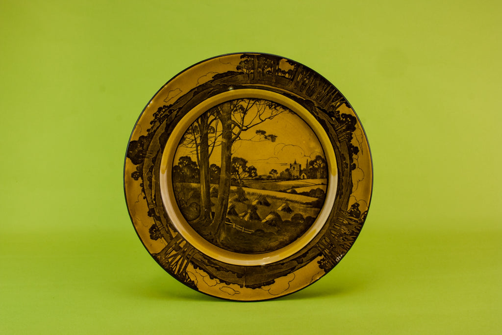 Art Deco pottery cake plate