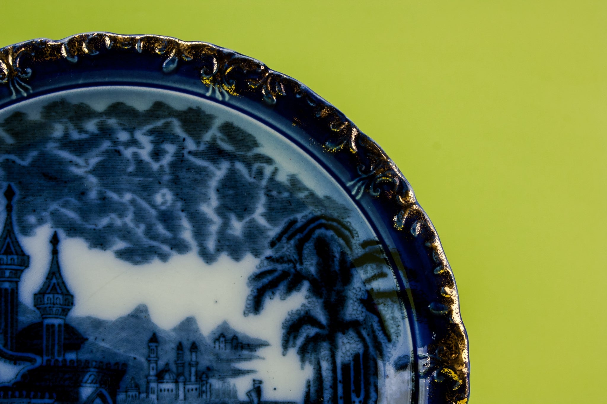 Blue and white serving dish