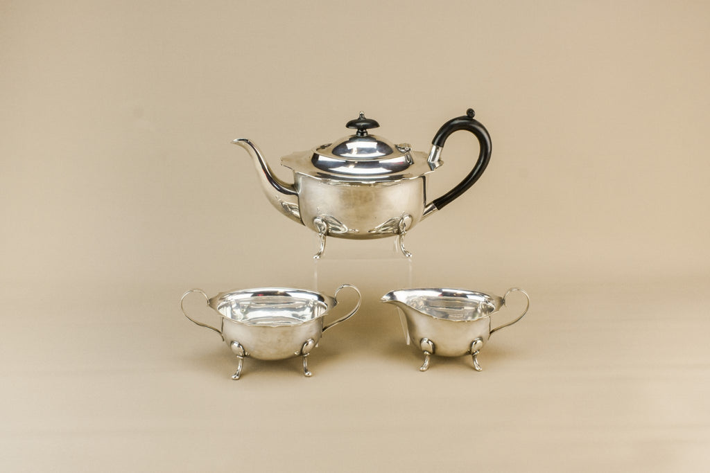 Silver plated tea set trio