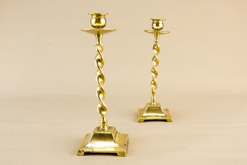 2 barley twist candlesticks