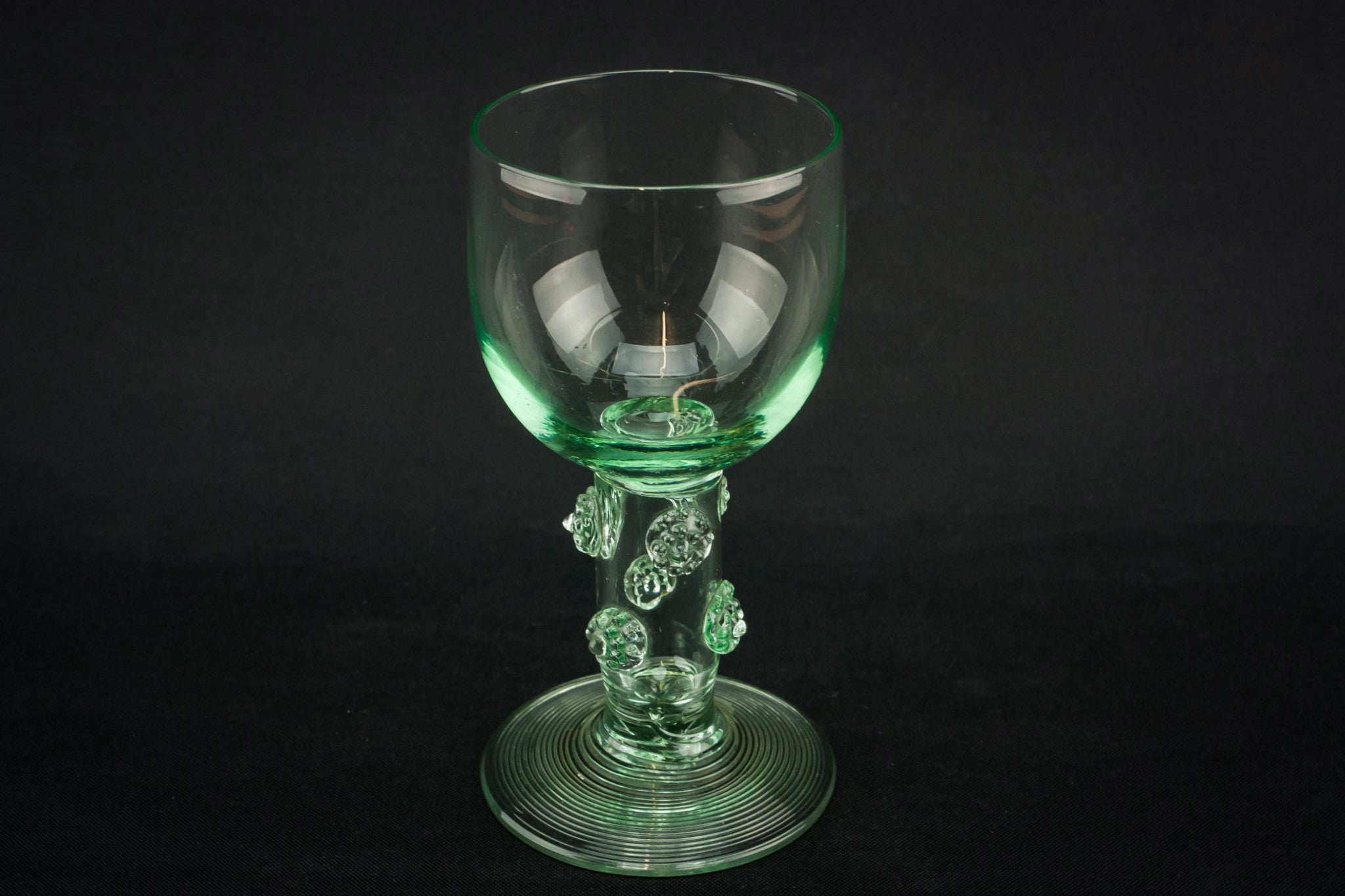 6 green wine glasses