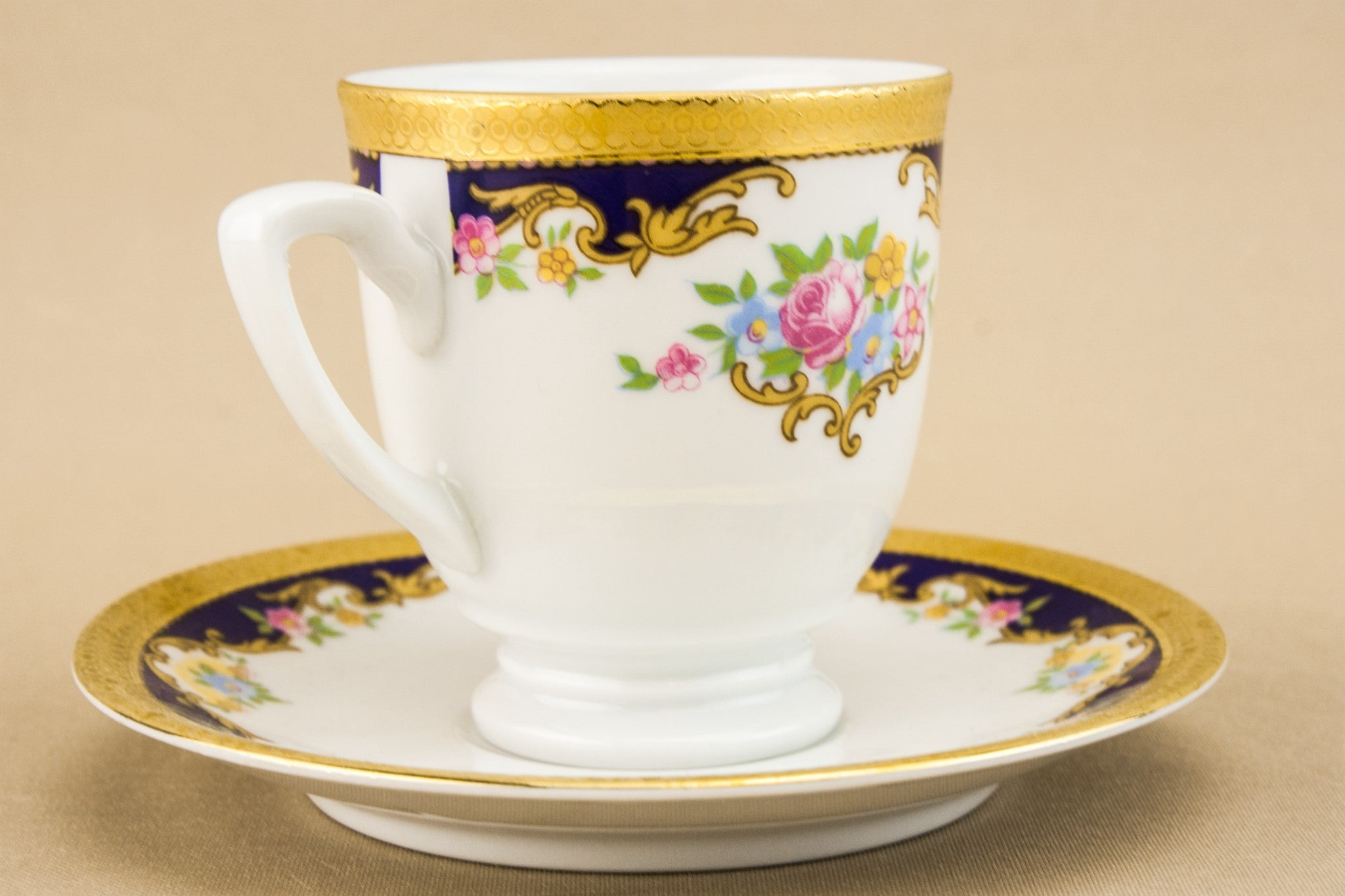 Floral porcelain coffee cup
