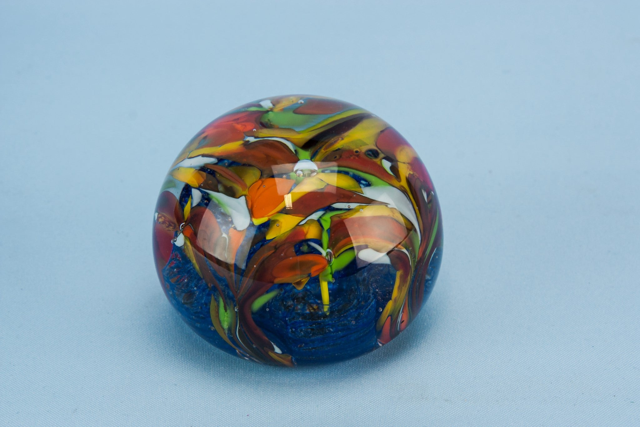 Floral glass paperweight