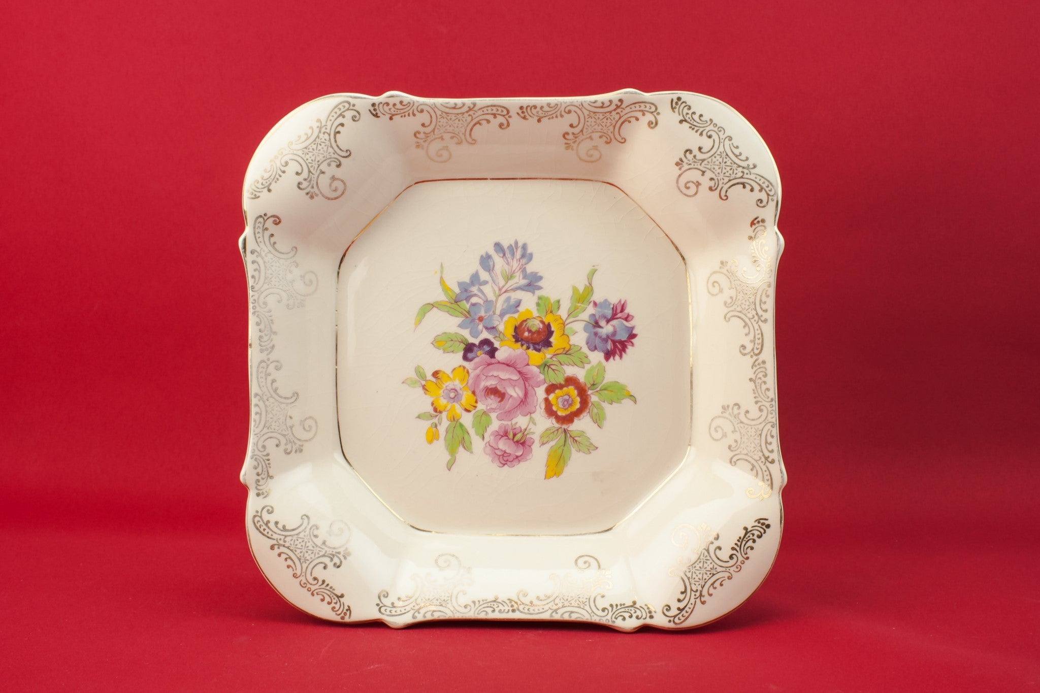 Floral pottery serving dish