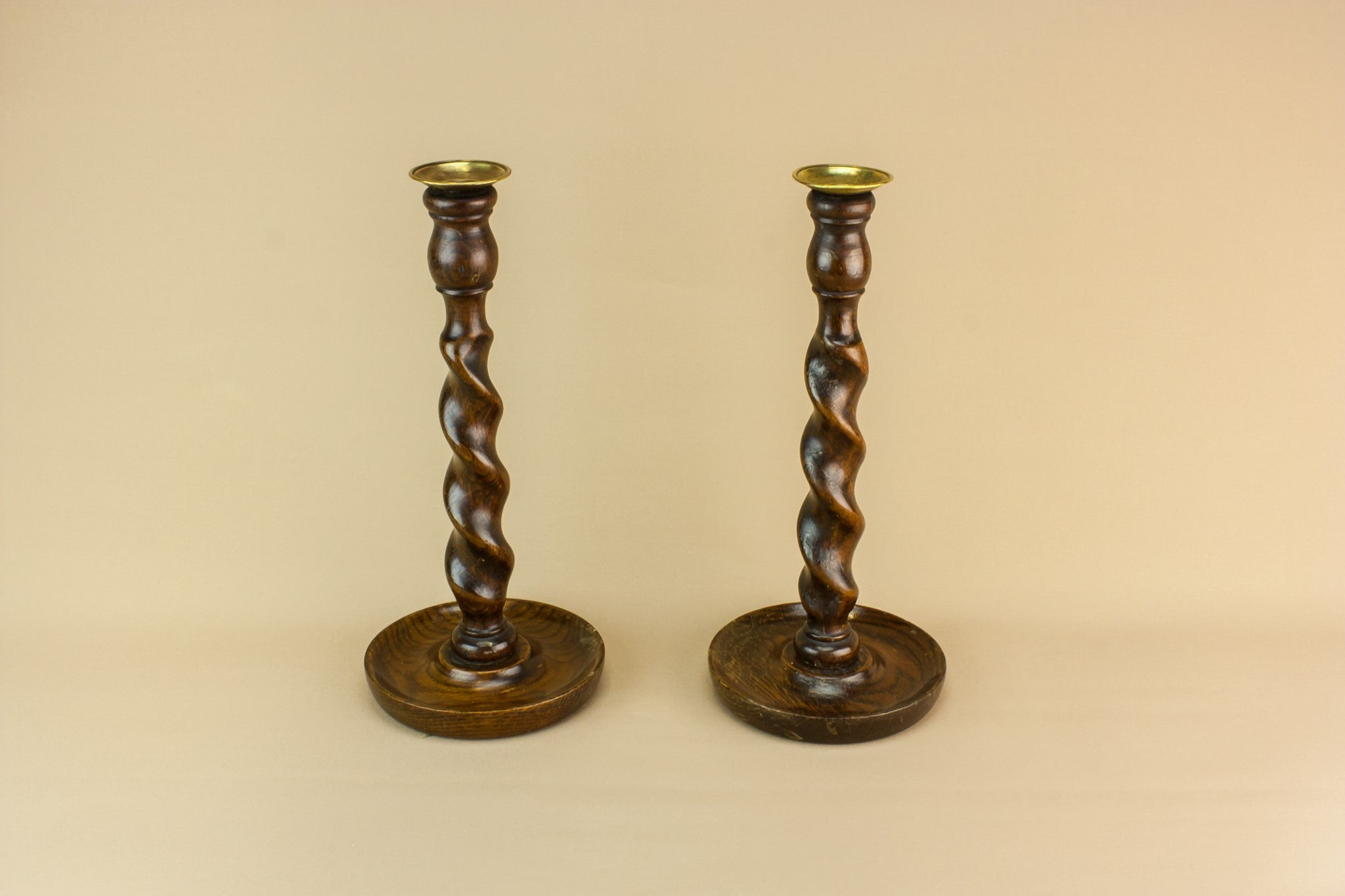 2 wooden tall candlesticks