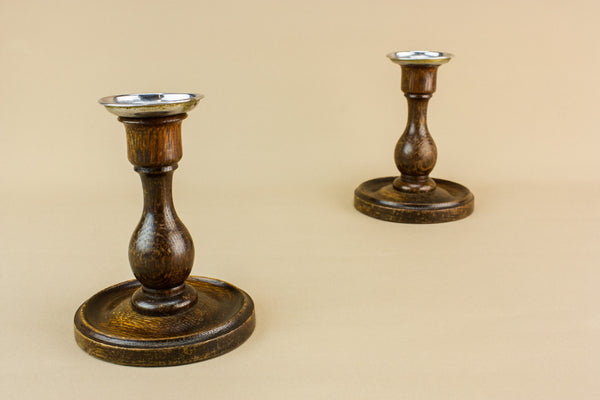 2 traditional oak candlesticks