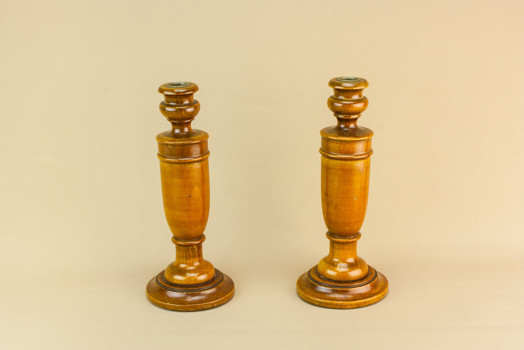 2 Art Deco wooden candlesticks