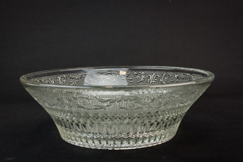 Pressed glass serving bowl