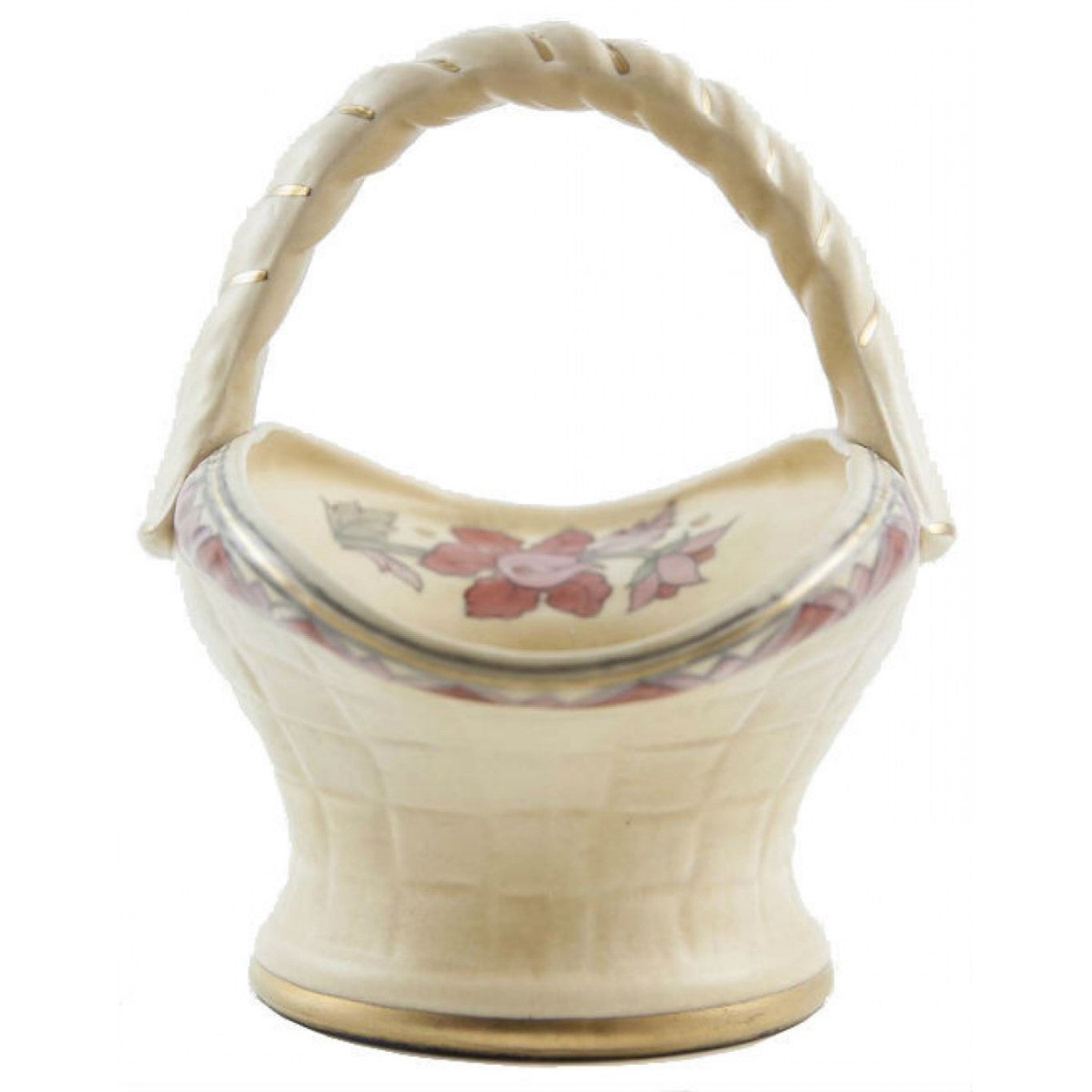 Floral ceramic basket