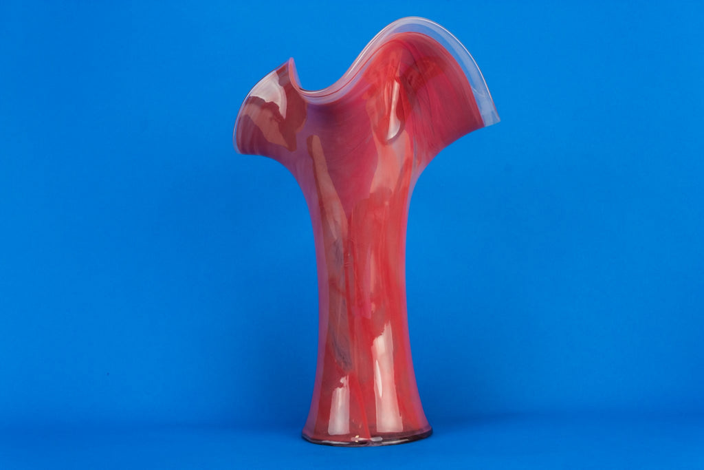 Tall pink glass vase