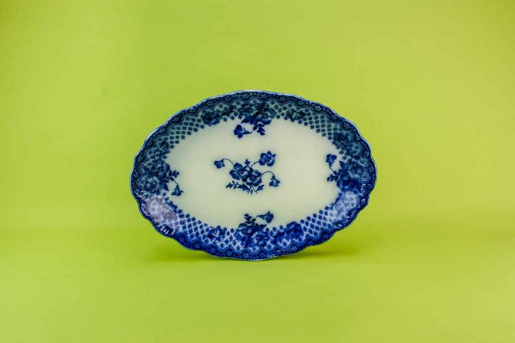 Flow blue pottery platter