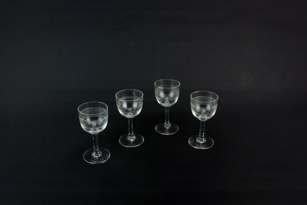 4 engraved port glasses