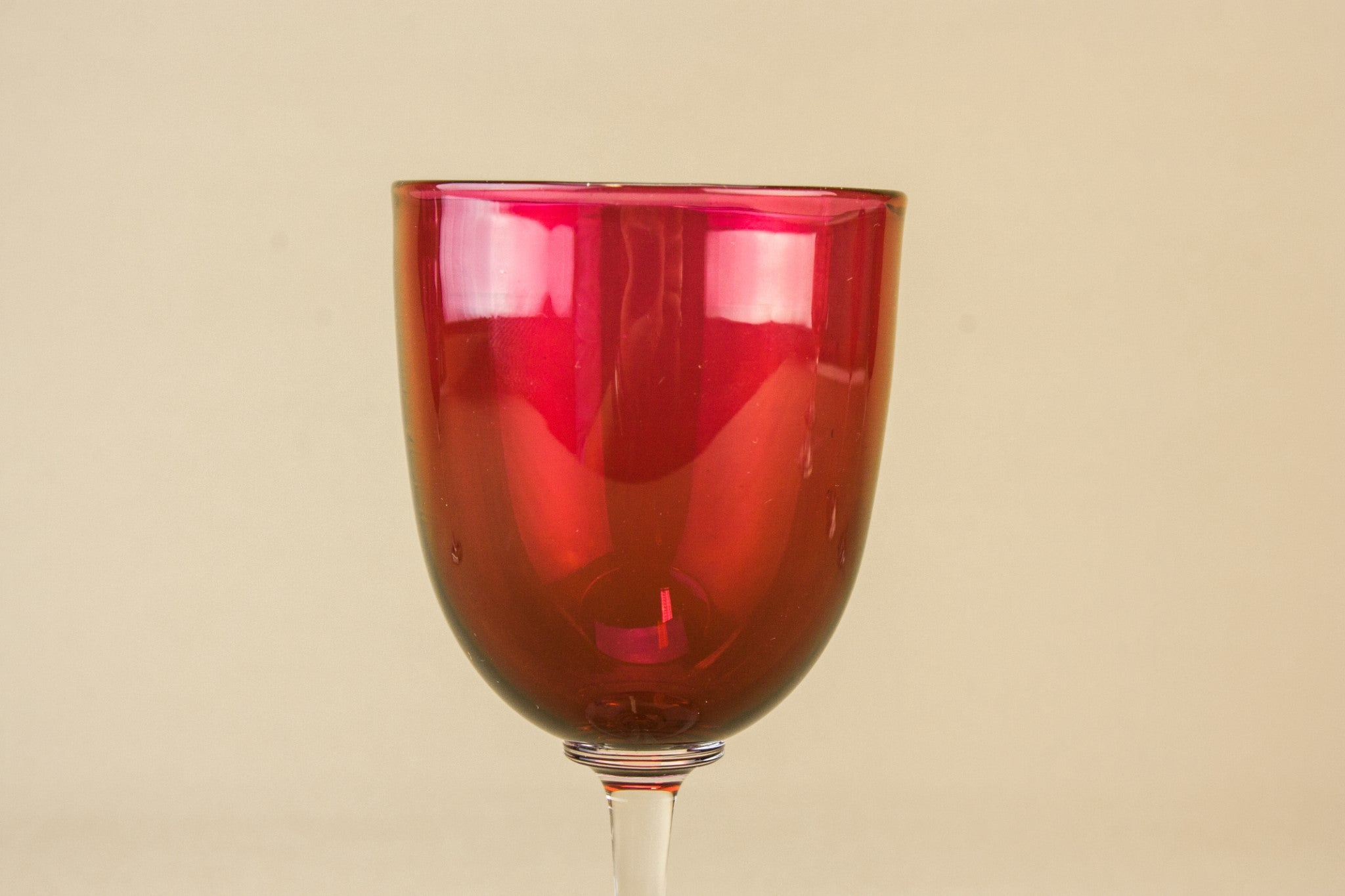 6 cranberry red wine glasses