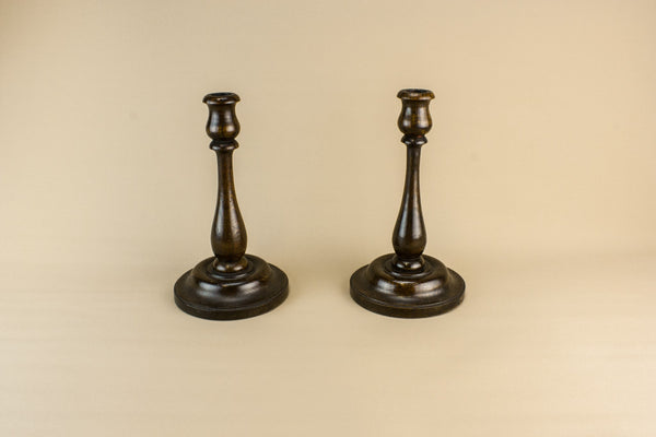 Pair of oak candlesticks