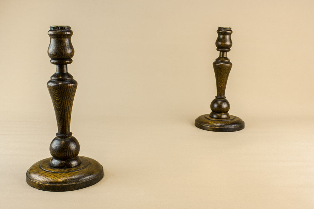 2 oak candlesticks