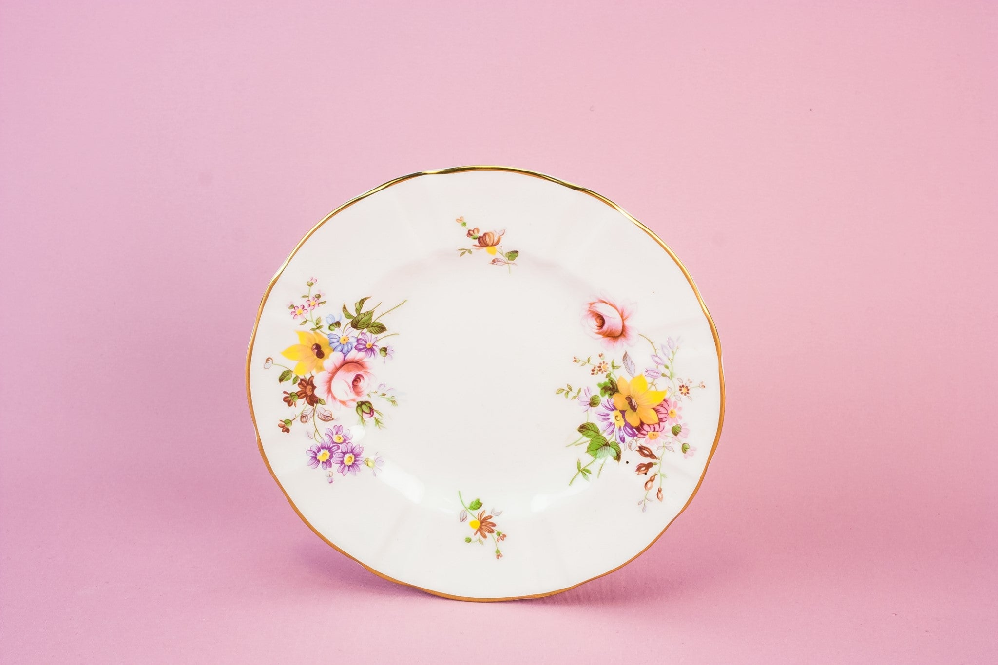 4 retro bone china plates