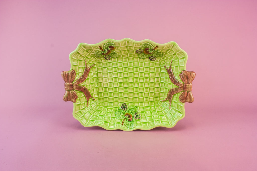 Green basket serving bowl