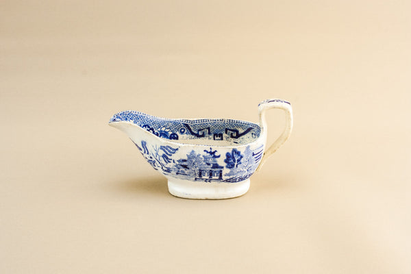 Blue and white gravy boat