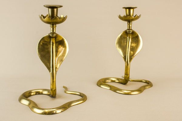2 cobra brass candlesticks
