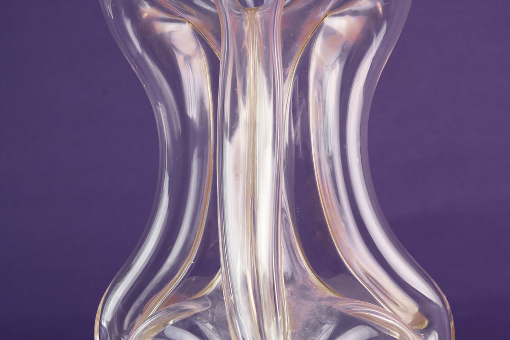 Tall ribbed glass decanter