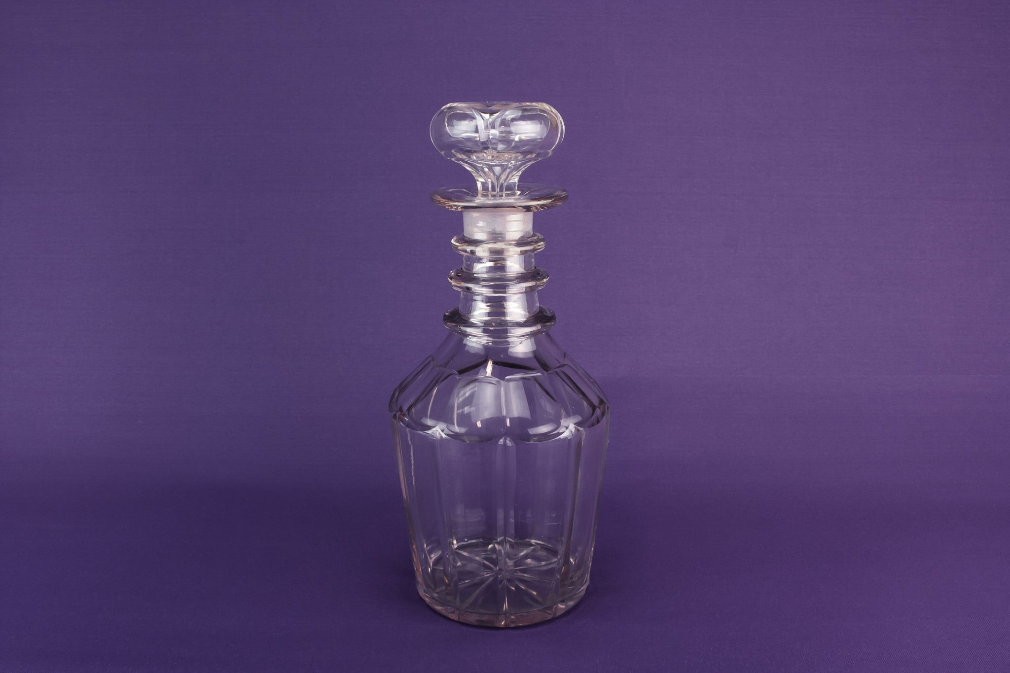 Cut glass barrel decanter