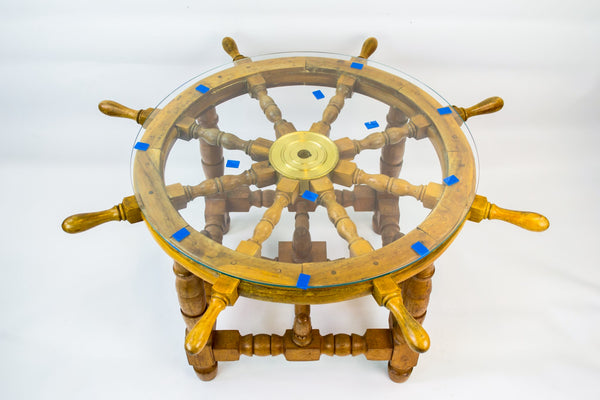 Ship's wheel coffee table