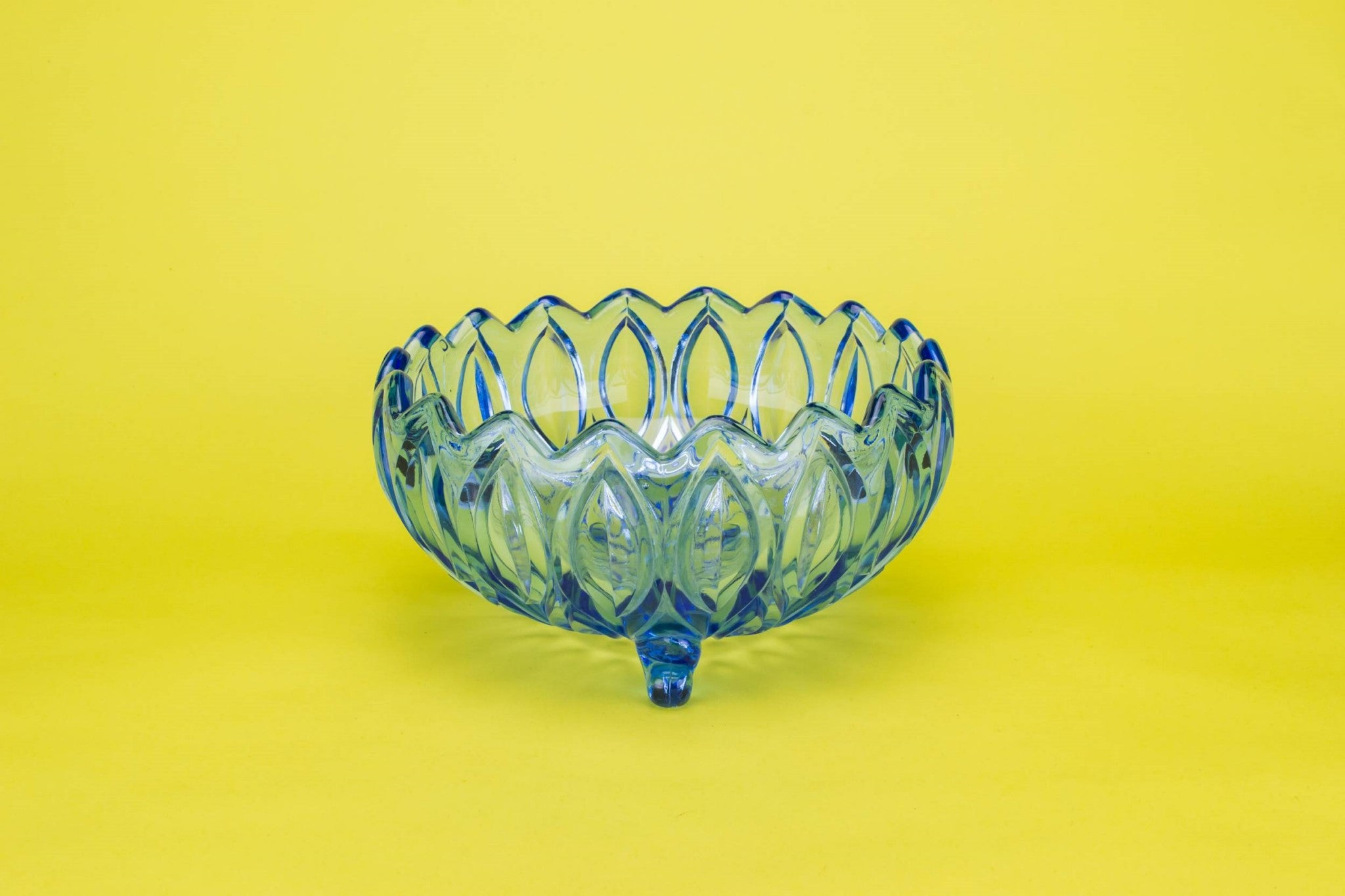 Blue pressed glass bowl