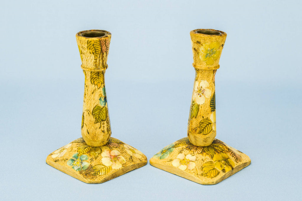 2 painted candlesticks