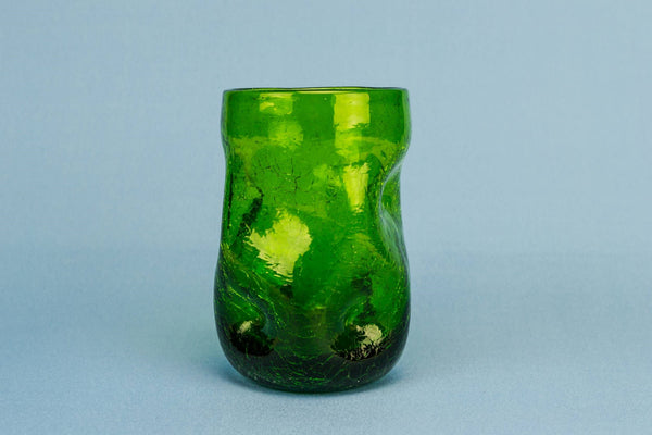 Small green glass vase