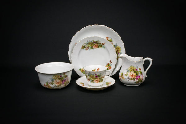Porcelain Roses tea set for 6, German 1930s
