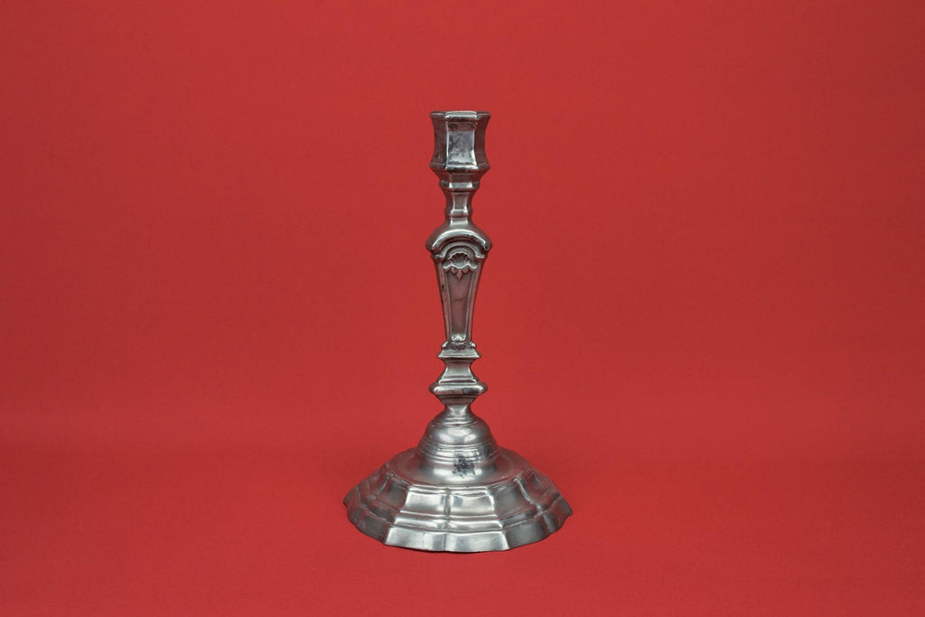 Grey pewter candlestick