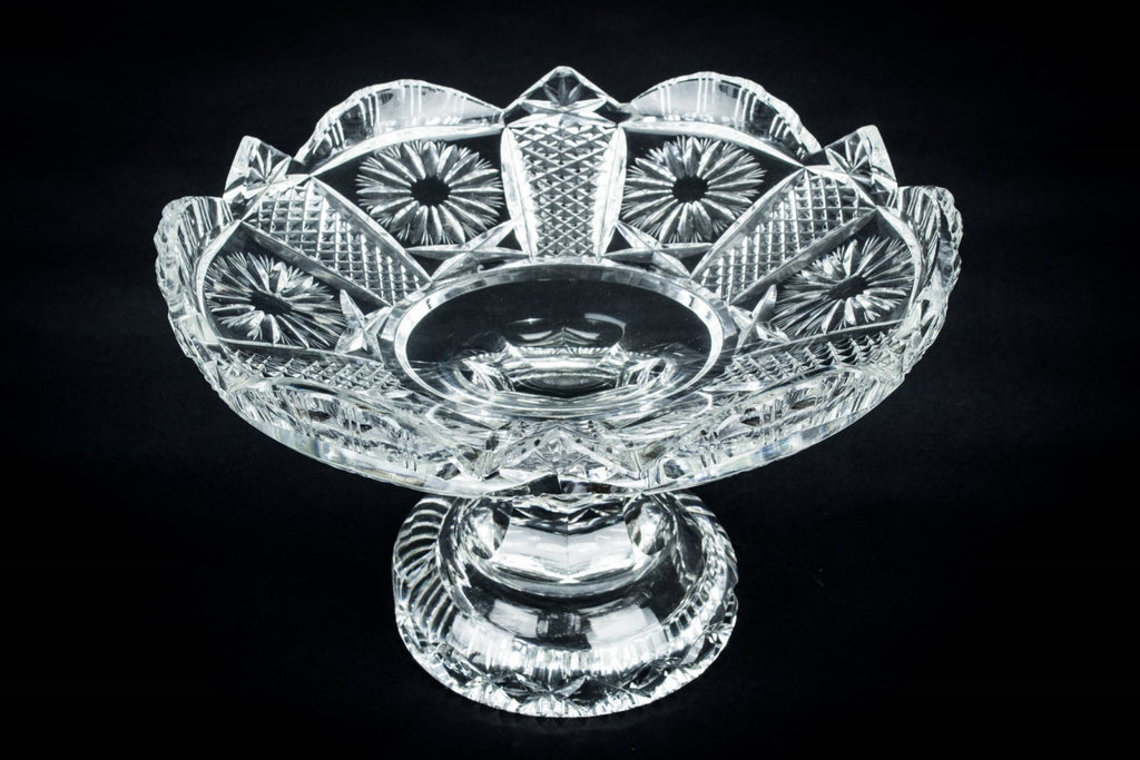 Heavy cut glass serving bowl