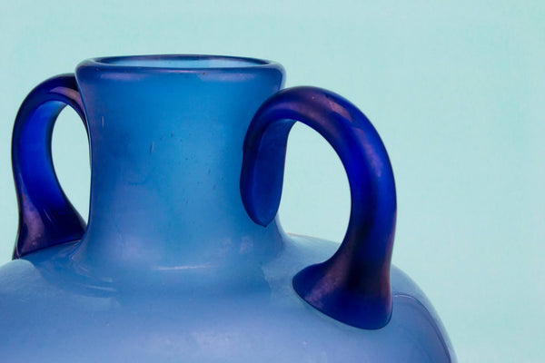 Blue glass vase with handles
