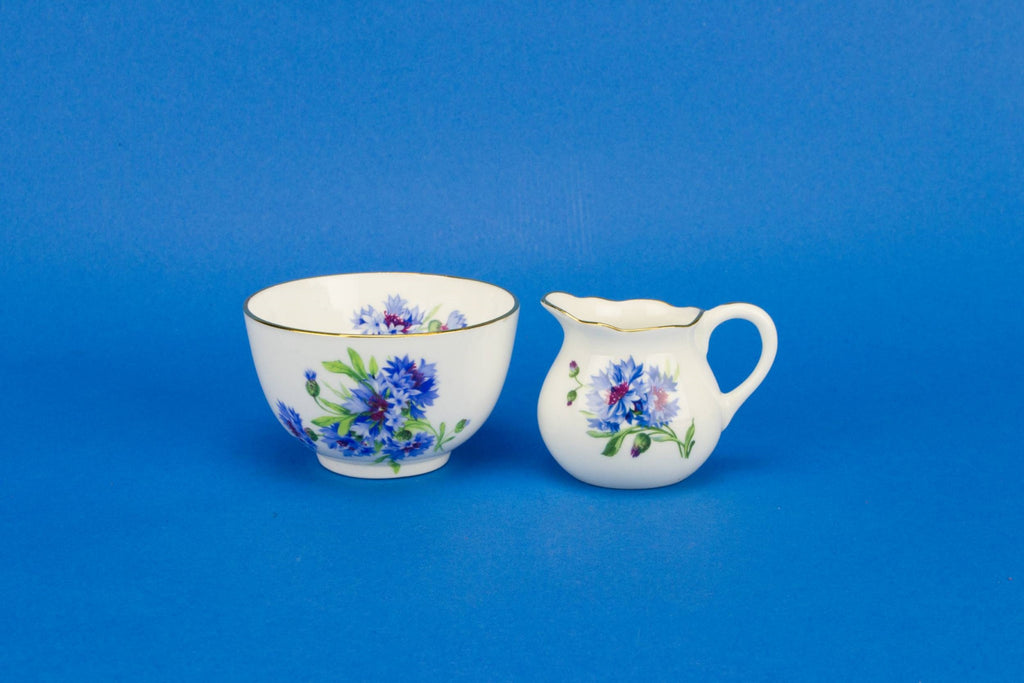 Blue and white creamer