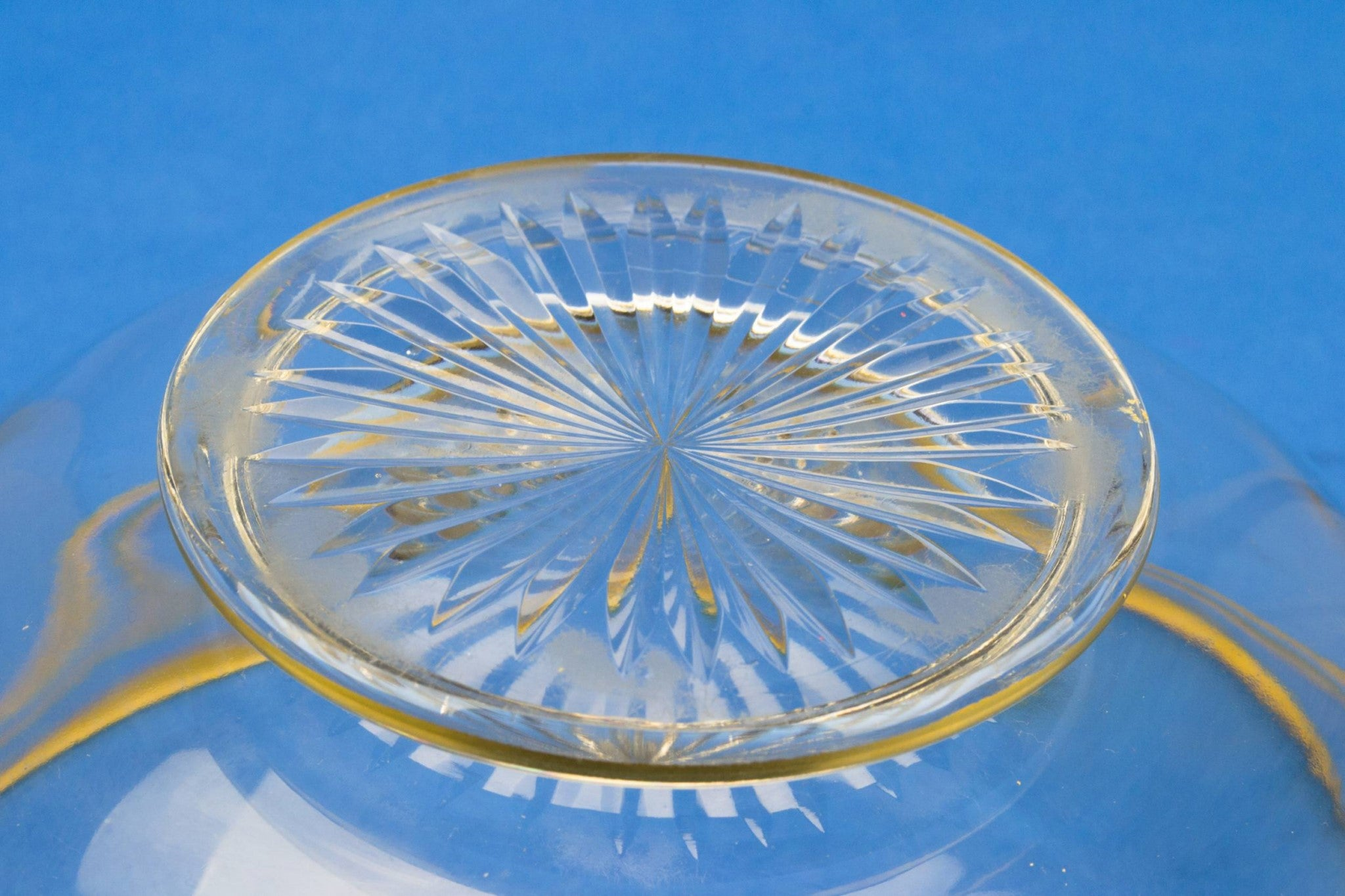 Cut glass serving bowl