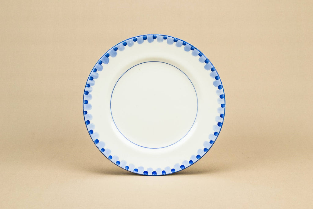 10 blue and white plates