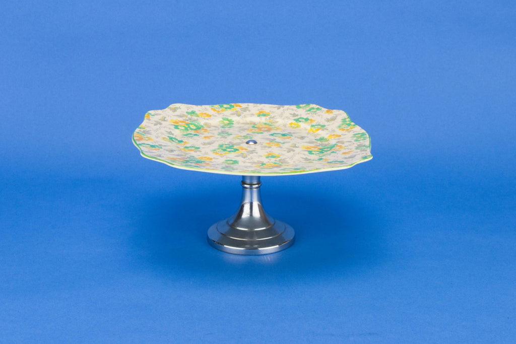 Yellow chintz cake stand