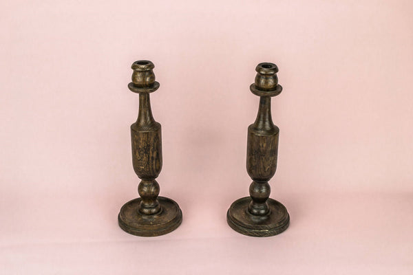 2 oak baluster candlesticks