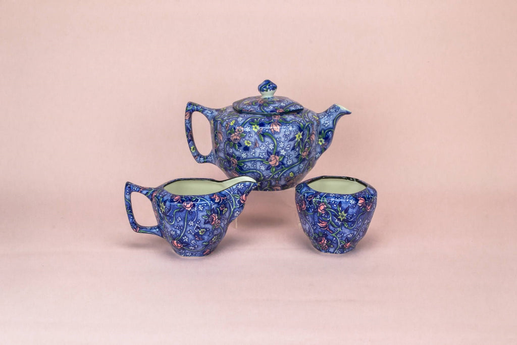 Tea set in blue white & pink