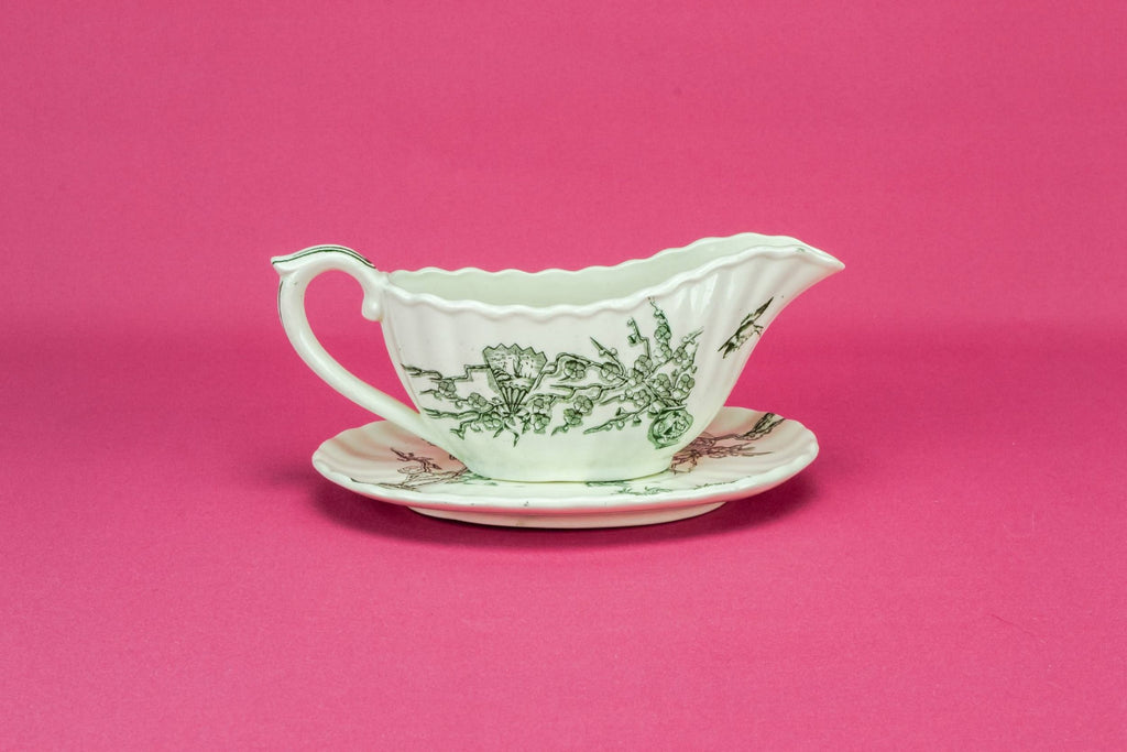 Green and white gravy boat