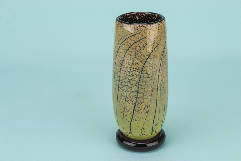 Small speckled glass vase