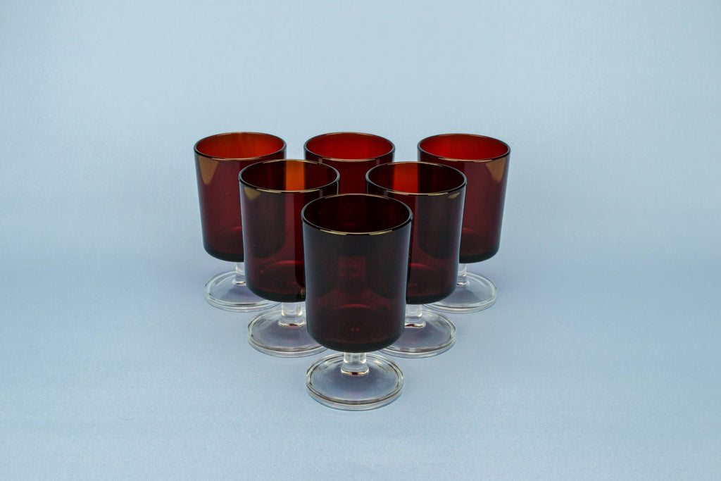 6 red dessert wine glasses