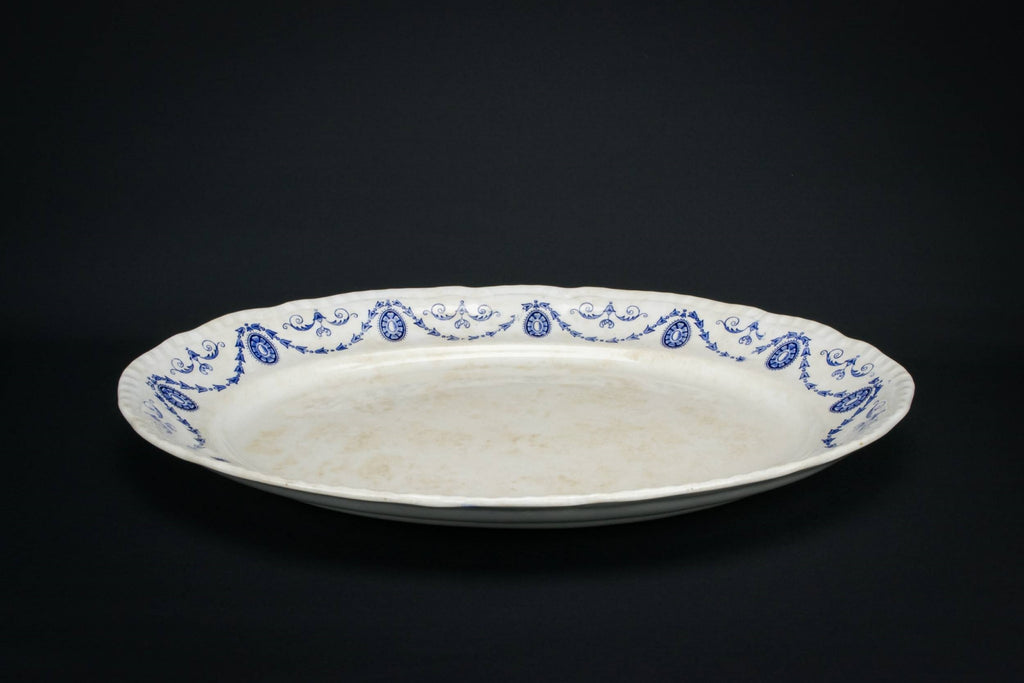 Large blue and white platter