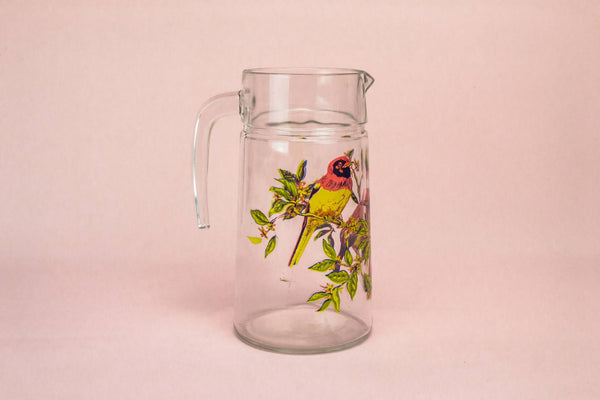 Pimms red birds glass jug