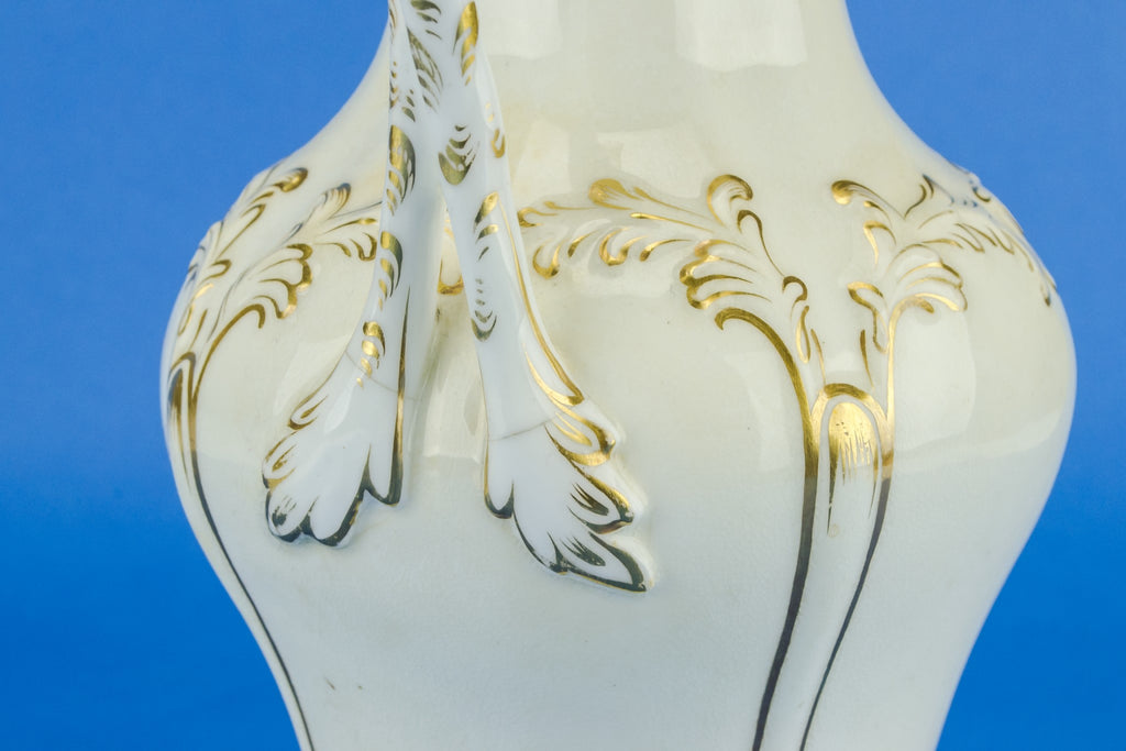 White and gold flower jug