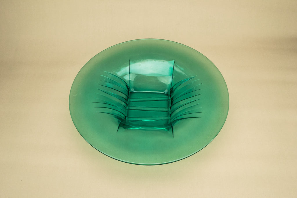 Large green glass bowl