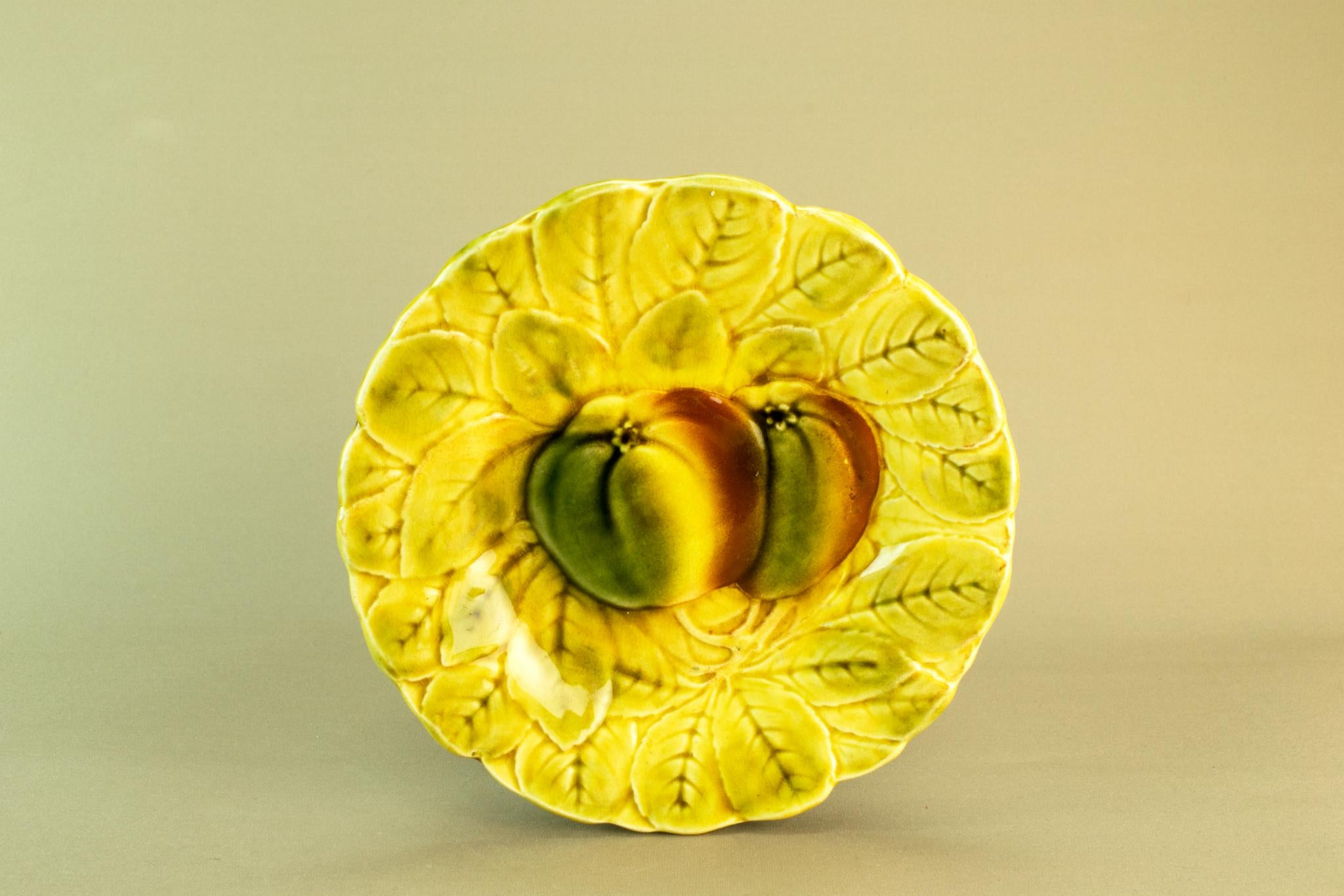 Yellow majolica small dish, mid 20th c