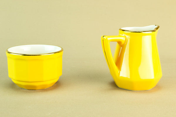 Apilco yellow creamer and sugar bowl
