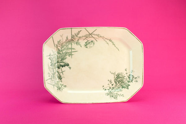 Octagonal green serving platter, 1880s
